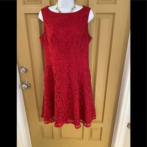 ADRIANNA PAPELL RED LACE SLEEVELESS DRESS SIZE 8